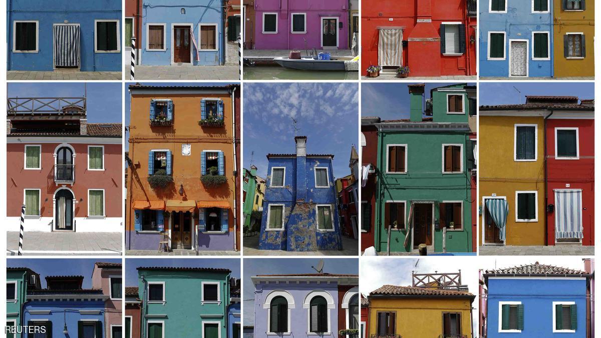 تشتهر جزيرة بورانو الإيطالية ببيوتها الملونة والتي جعلتها مقصدا للسياح والفنانين على حد سواء