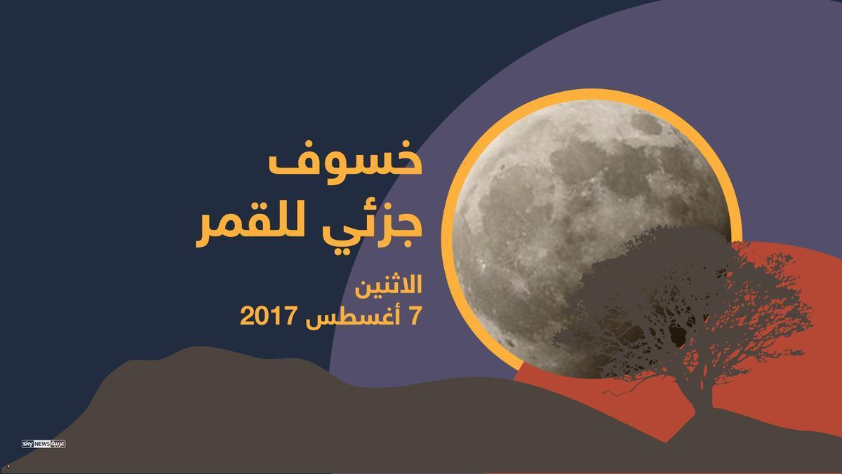 خسوف جزئي للقمر في الدول العربية  اليوم الأثنين   7  أب  2017